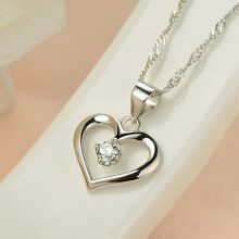 Elegant Heart Shaped Silver Necklace