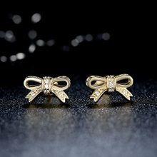 Sparkling Bow Stud Earrings