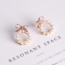 Pearl and Bow Hoop Earrings