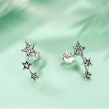 Sparkling Star Silver Women's Climber Earrings