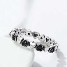 Women's Ring with Silver and Black Hearts