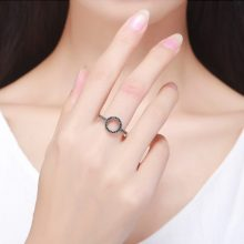 Women's Silver and Crystal Circle Ring