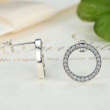 Minimalistic Silver and Crystal Round Women's Stud Earrings