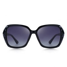 Women's Luxury Black and Silver Polarized Sunglasses with UV400 Protection