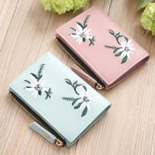 Floral Embroidered Short Wallet