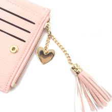 Small Faux Leather Women's Wallets with Tassel Decorations