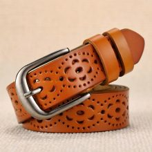 Women's Wide Carved Genuine Leather Belt